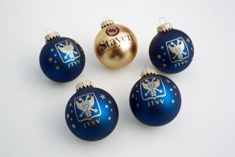 Custom printed Christmas baubles stvv