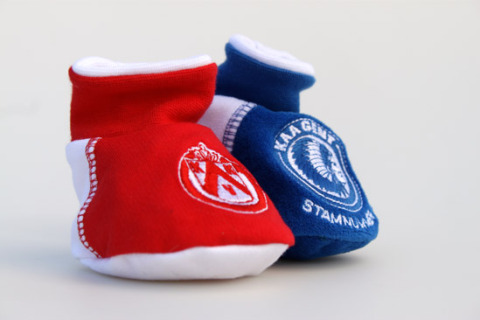 Custom baby booties red blue