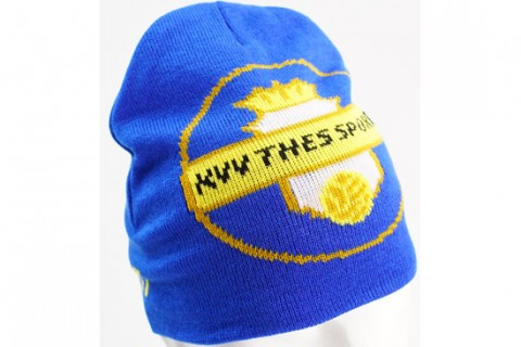 Custom football beanie hat blue yellow
