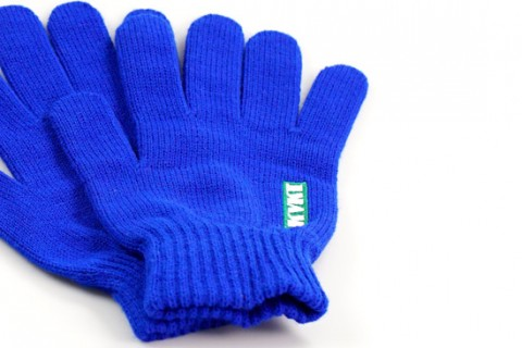 Custom blue gloves with logo embroidered