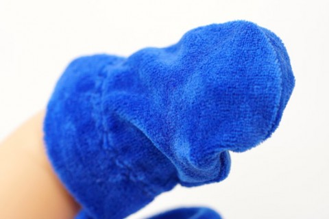Blue custom baby gloves