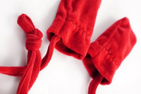 Red custom baby gloves