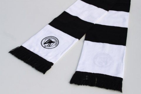 Bar football scarf black and white with logo