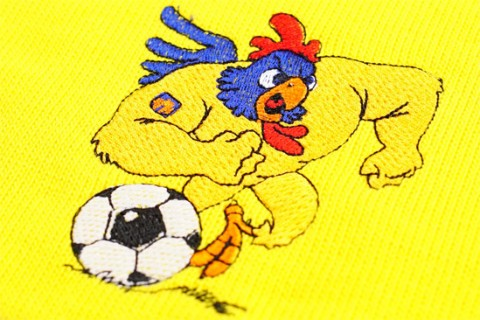 Bar scarf embroidery detail of cock in logo