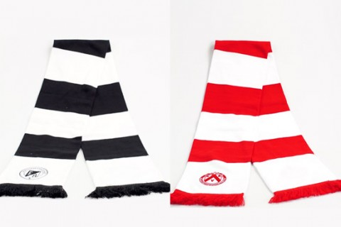 Custom bar scarves black/white & red/white