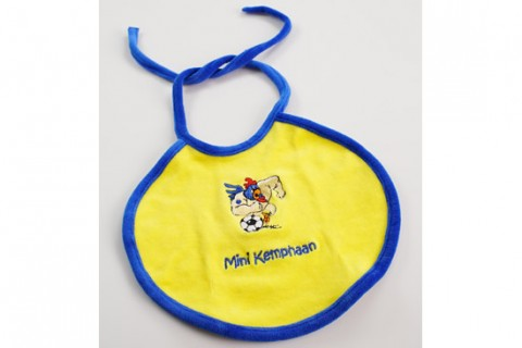 Custom embroidered baby bib with cords
